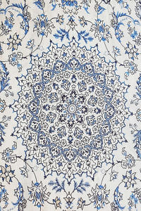 blue pashmina with floral pattern | luxury womenswear