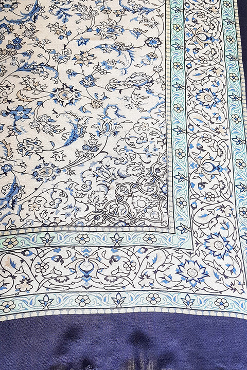 blue pashmina with floral pattern | premium womenswear