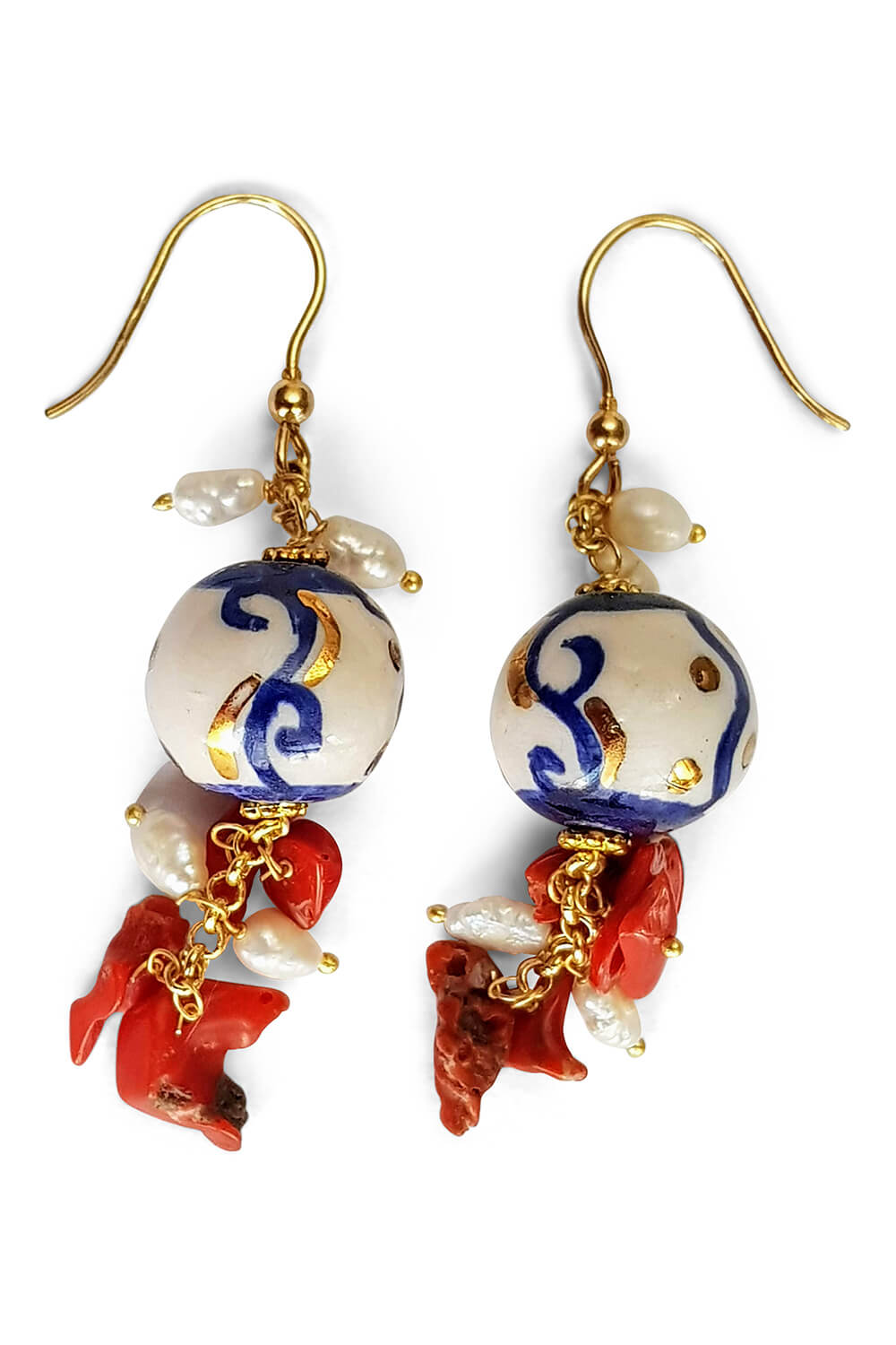 blue and white earrings with corals and pearls