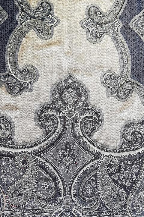luxury pashmina with paisley print in blue and grey | ASITA SAHABI