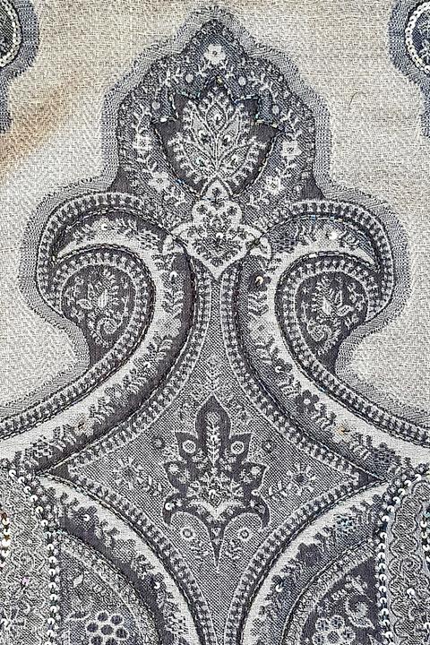 wool pashmina with paisley print in blue and grey | ASITA SAHABI