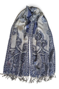 wool pashmina with paisley print in blue and grey | ASITA SAHABI