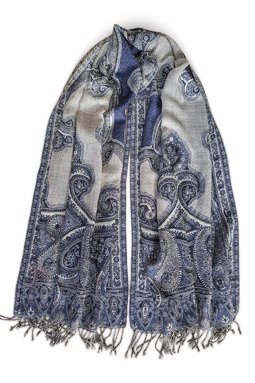 22b633663cf790 Pashmina aus Wolle mit Paisley-Muster in Blau und Grau TORINO ...