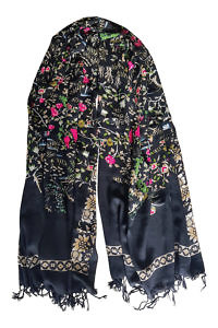 floral printed black wool pashmina | luxury scarfs