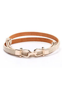 thin beige equestrian style leather waist belt