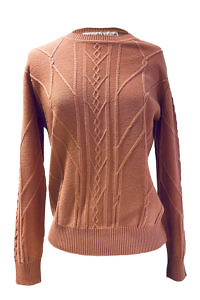ASITA SAHABI old pink cashmere sweater with a braided pattern