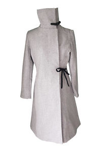 grey wool coat with velvet bow | ASITA SAHABI