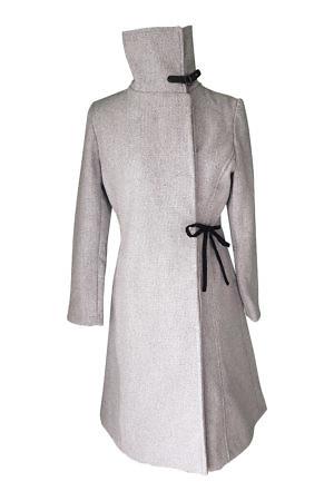 grey wool coat with velvet bow | ASITA SAHABI