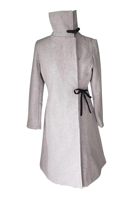 grey wool coat with velvet application EMILIA