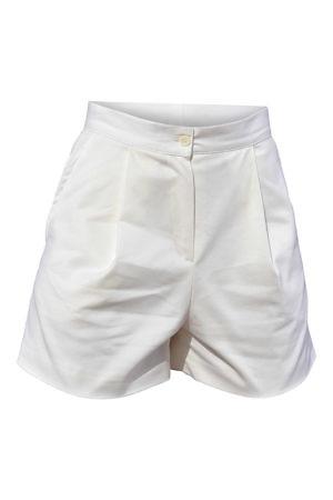 ivory pleated shorts in gabardine