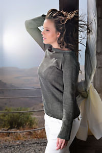 olive green wool sweater with submarine neckline