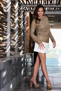 cognac woolen sweater and white premium shorts