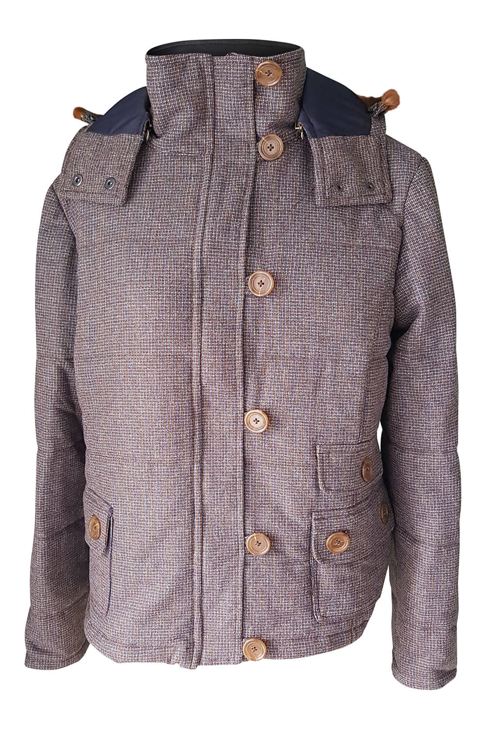 Quilted jacket in tweed with detachable hood ANGELA