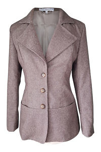 slim fitted long blazer in tweed | long tweed blazer