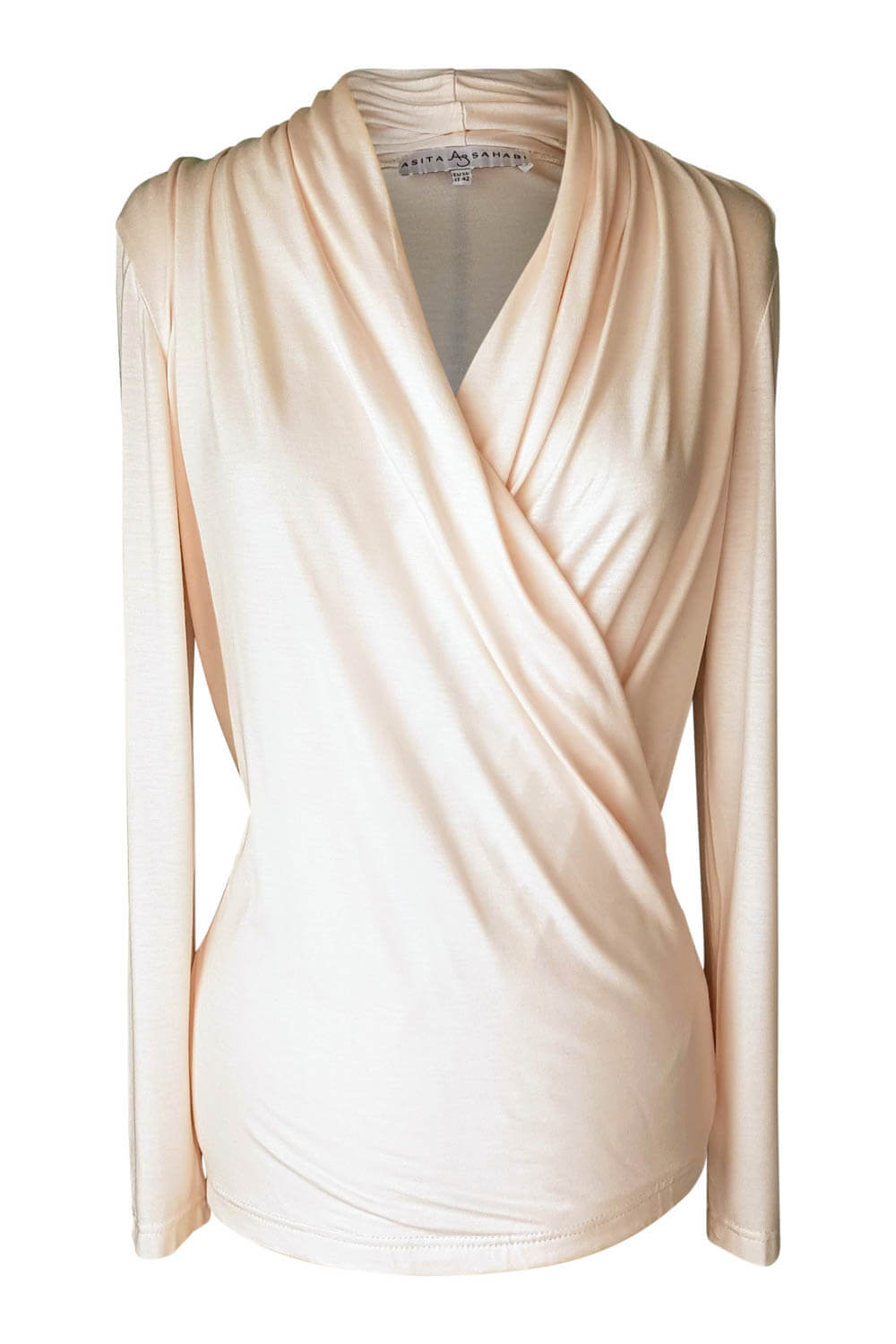 draped top with long sleeves and wrap bodice effect in nude jersey DORA