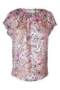 silk blouse with an abstract print in rosé, black and white LISSI