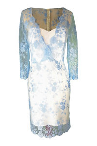 cocktail dress in light blue lace and ivory silk