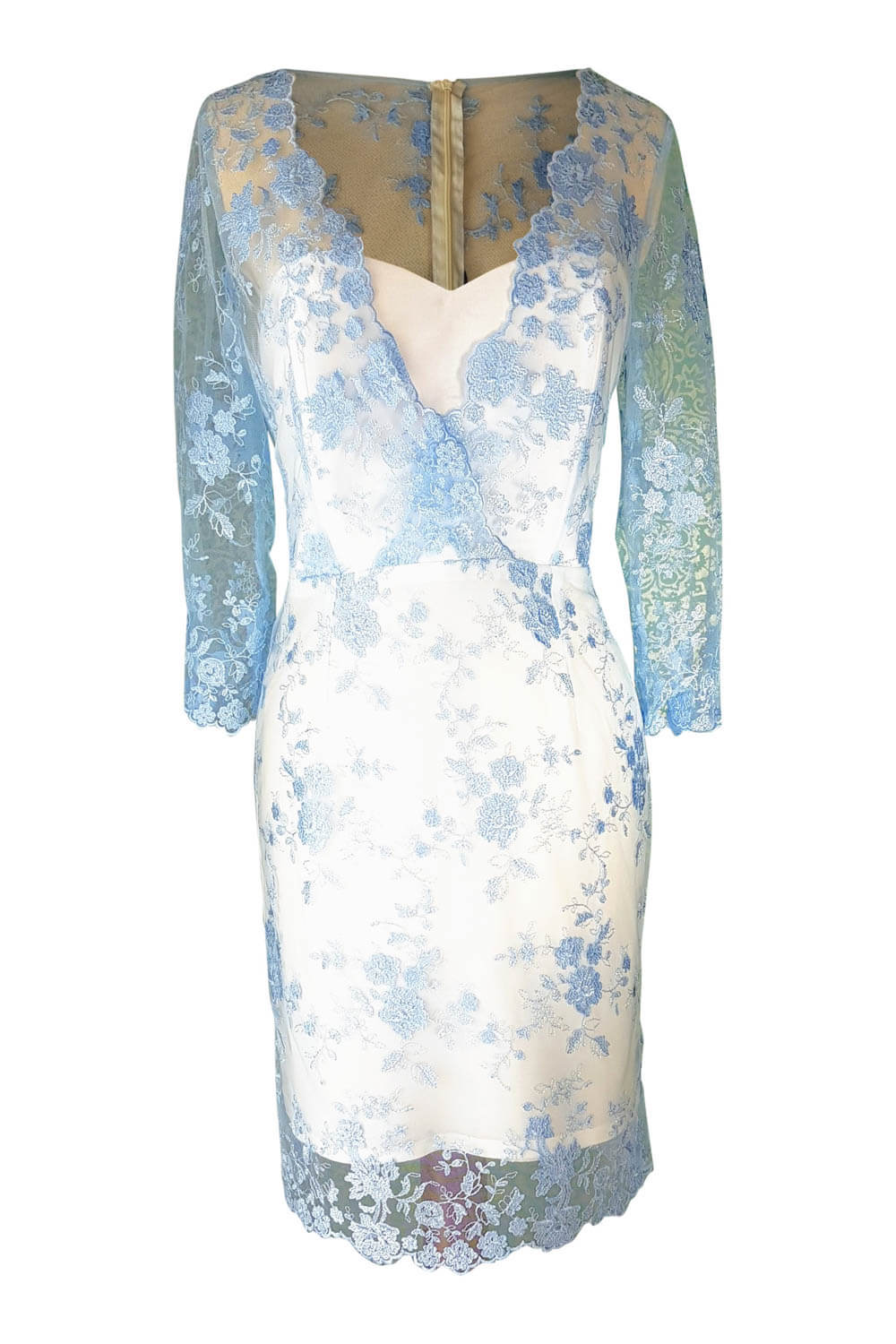 Cocktail Dress Sophia In Light Blue Lace And Ivory Silk