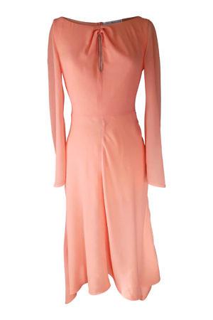 coral colored silk dress in midi length
