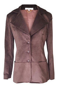 slim fitted long blazer in dark brown velvet cord