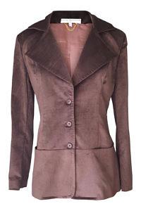 slim fitted long blazer in dark brown velvet cord