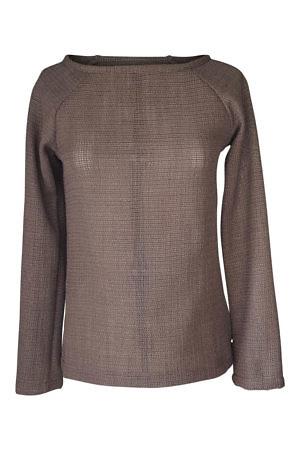 olive green wool sweater with submarine neckline