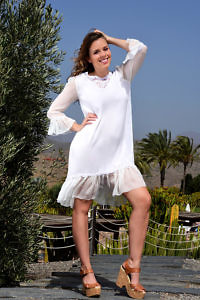 white silk chiffon dress with ruches and embroideries