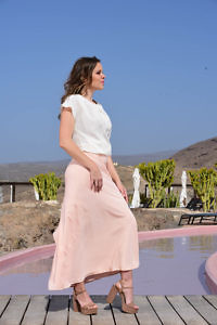 salmon pink silk maxi skirt | festive wear