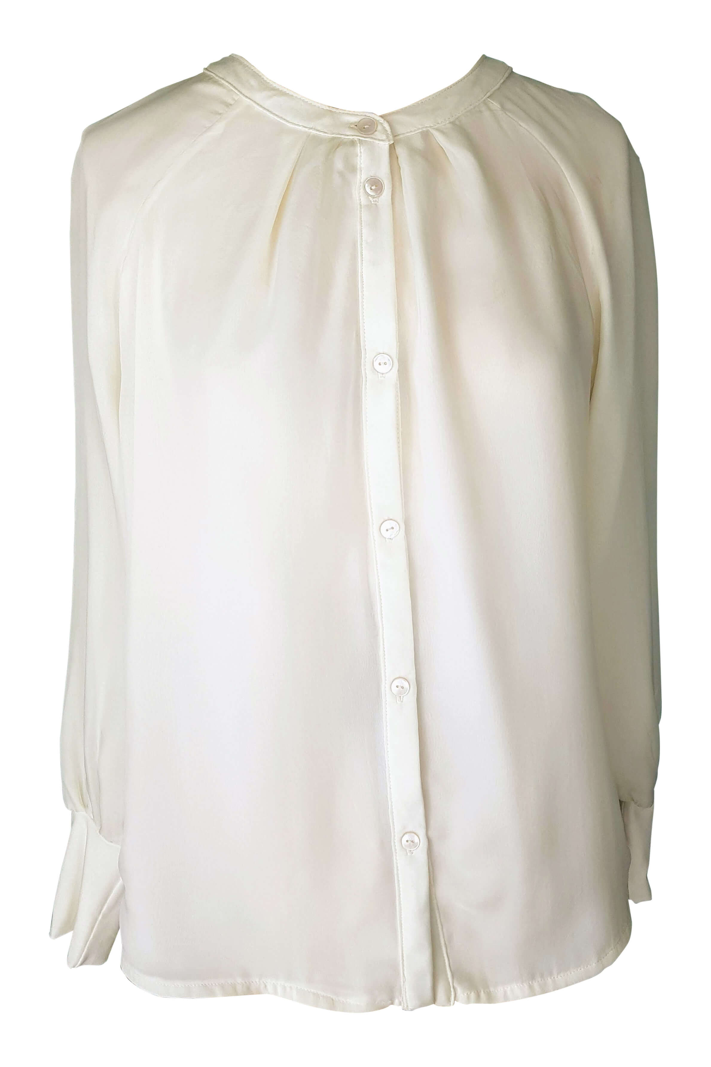 ecru silk top | ivory silk blouse with parts in jersey NICOLA
