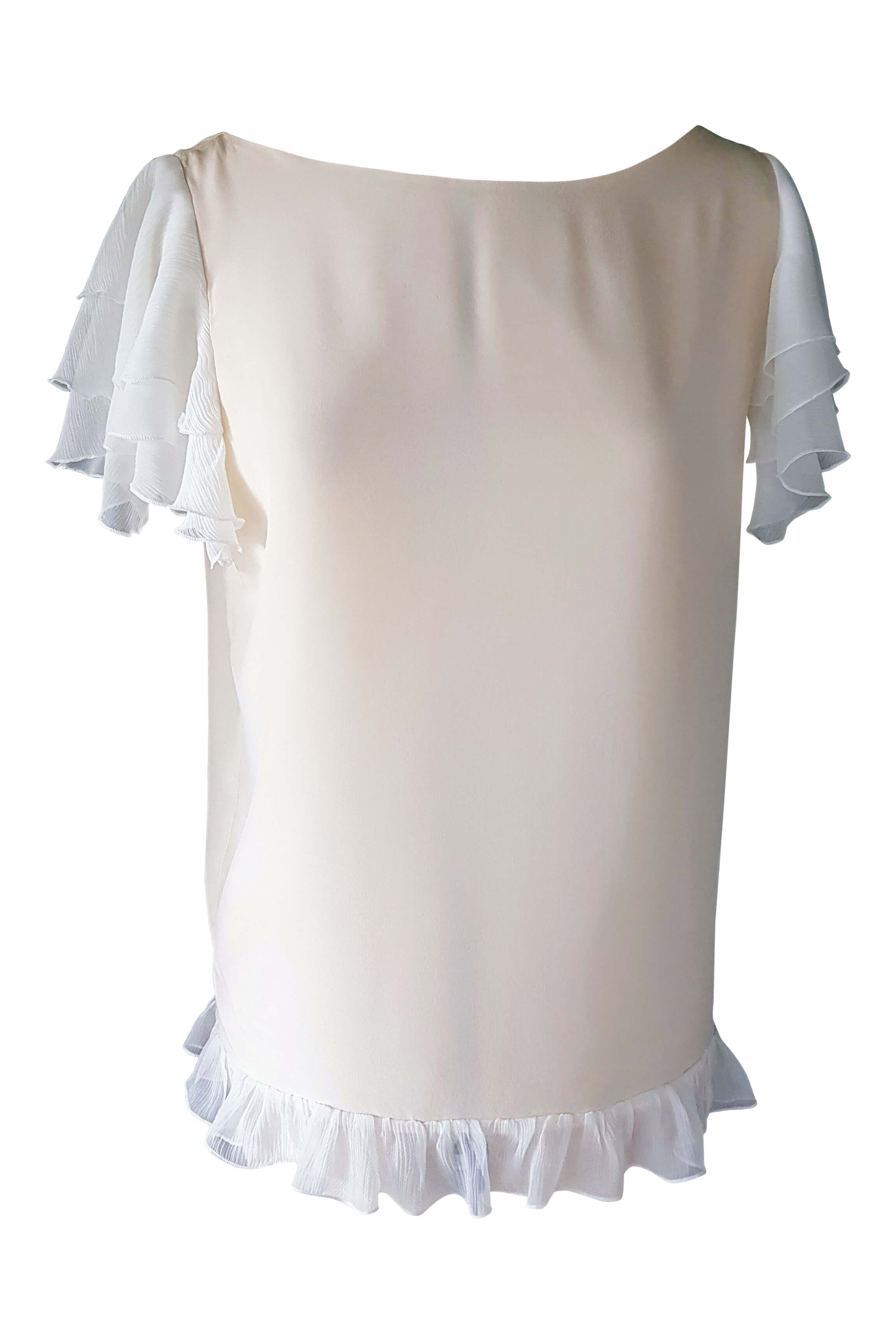 vanilla silk top with white ruches | beige silk blouse with volants LOUISE