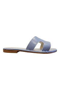 blau-weiss gestreifte Slides | blau-weiss gestreifte Sandalen