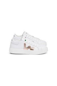 leather sneakers in white and gold | Italian sneakers