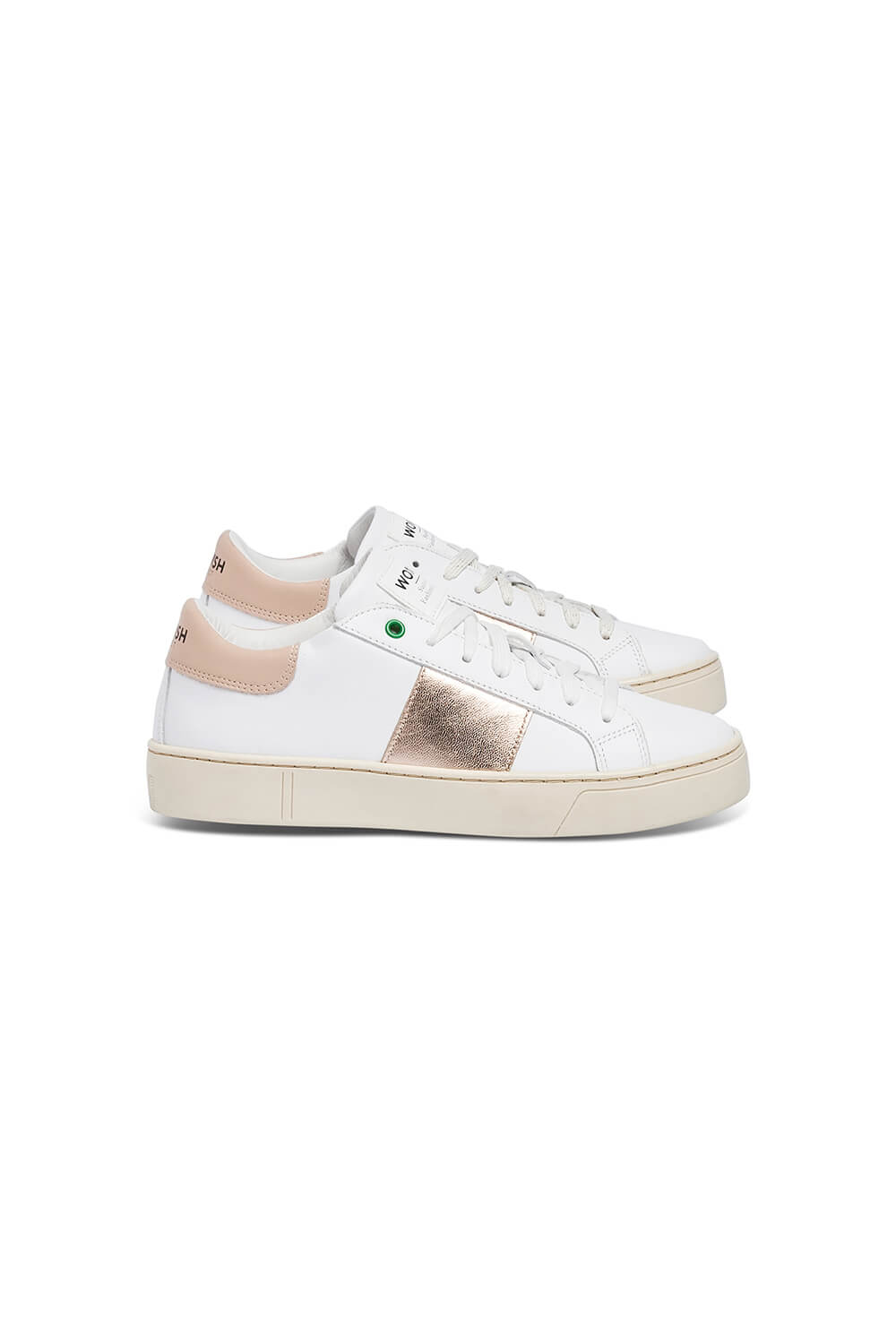 WOMSH Sneakers KINGSTON in white and beige leather with a contrasting band in copper