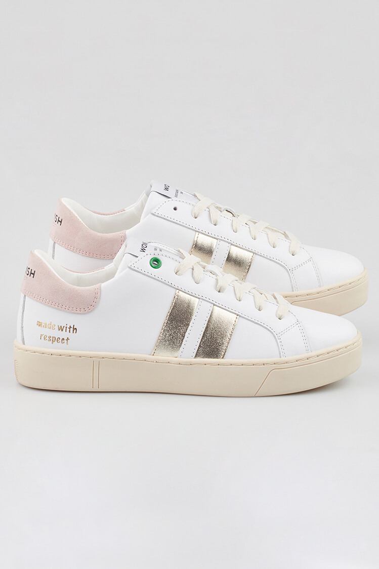 WOMSH sustainable Sneakers KINGSTON WHITE METALLIC in white and nude leather with a contrasting band in champagne gold