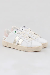 WOMSH sustainable Sneakers KINGSTON WHITE METALLIC in white and nude leather with a contrasting band in silver