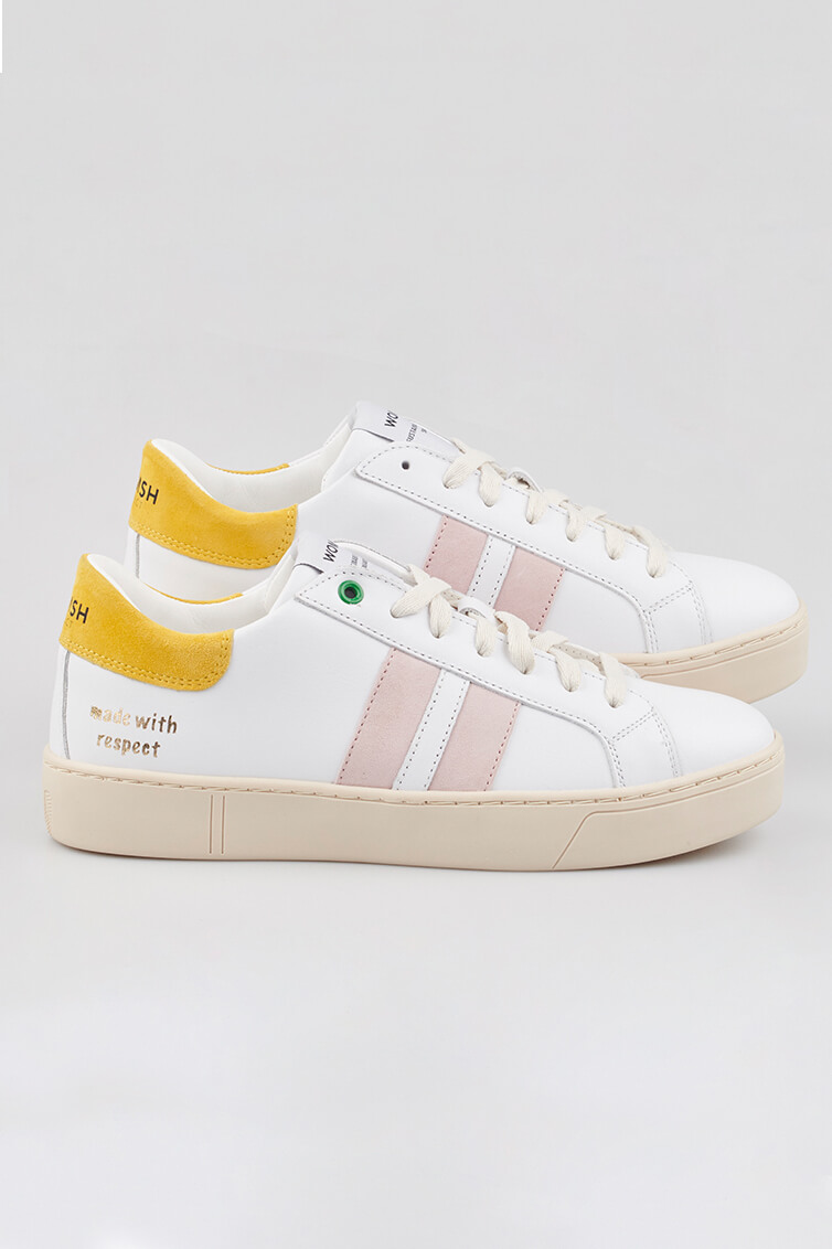 WOMSH sustainable sneakers KINGSTON WHITE SUN in white, rosé and yellow leather | yellow sneakers