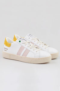 KINGSTON sustainable sneakers WHITE SUN in white, rosé and yellow leather | yellow sneakers