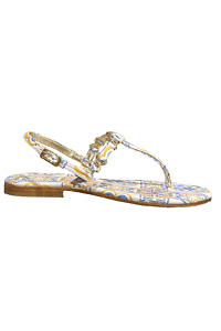 Capri leather sandals with a tile pattern PIA | majolica painted leather sandals