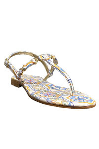 PAOLA FIORENZA Capri leather sandals with a tile pattern | majolica painted leather sandals