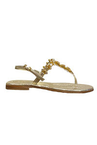Golden Capri leather sandals with swarowski stones VITTORIA