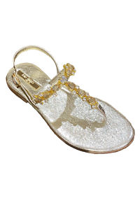 Golden Capri leather sandals with swarowski stones | golden jewel sandals