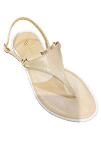 Capri sandals in very soft beige and white leather PURO | beige leather sandals | beige flip flop sandals