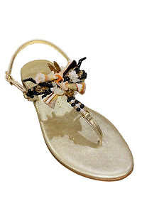 PAOLA FIORENZA Capri sandals in golden leather with pink shells, black corals and swarowski stones