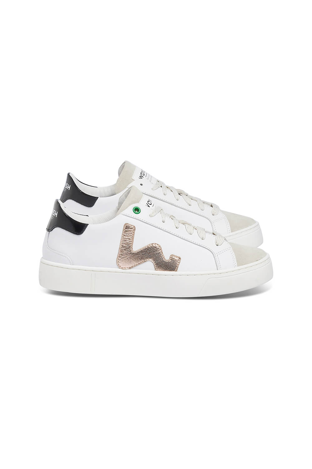 WOMSH Sneakers CONCEPT in white and beige leather with details in copper and black