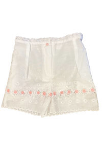white cotton shorts for girls with pink flowers CLARA