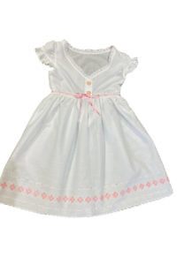 white cotton dress for girls with pink flowers and ruches MELISSA