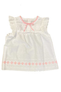 white cotton blouse for girls with pink flowers and ruches ELISABETTA