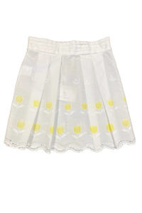 white cotton skirt for girls with yellow tulips SISI