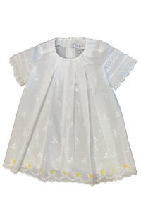 ASITA SAHABI white cotton dress for girls with yellow birds and pleats