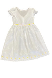 white cotton dress for girls with yellow birds and ruches MELISSA